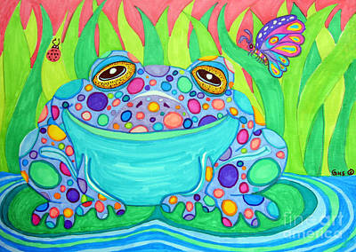 Frogs Drawing - Colorful Spotted Frog by Nick Gustafson