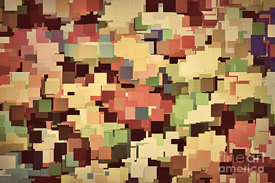 Backdrop Photograph - Colorful Squares Background In Vintage Sepia Tint by Michal Bednarek