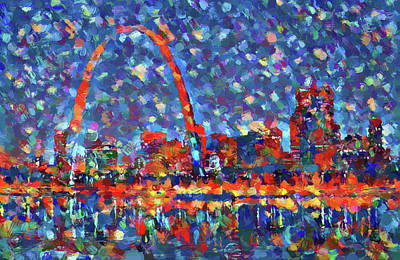 Painting - Colorful St Louis Skyline by Dan Sproul