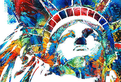 Rainbow Colors Painting - Colorful Statue Of Liberty - Sharon Cummings by Sharon Cummings