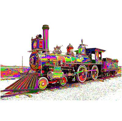 Painting - Colorful Steam Locomotive by Samuel Majcen