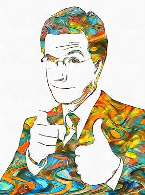 Colorful Stephen Colbert Art Print by Dan Sproul