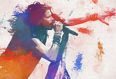 Music Paintings - Colorful Steven Tyler Paint Splatter by Dan Sproul