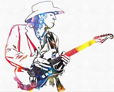 Colorful Stevie Ray Vaughan Art Print by Dan Sproul