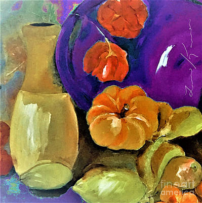 Still Life Painting -  Colorful Still-life Of Fruit And Flowers by Lisa Kaiser