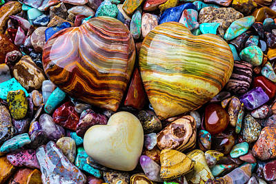 Heart Shaped Rock Photograph - Colorful Stone Hearts by Garry Gay