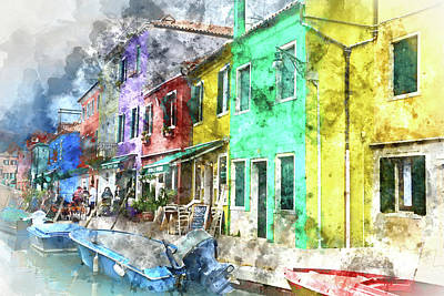 Old Town Digital Art - Colorful Street In Burano Near Venice Italy by Brandon Bourdages