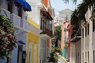 Colorful Streets Of Old San Juan Art Print by George Oze