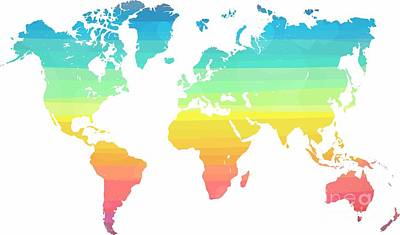 Colorful Stripe World Map Original