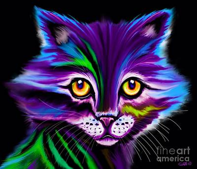 Colorful Striped Cat Art Print by Nick Gustafson