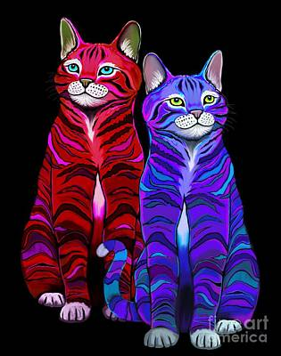 Digital Art - Colorful Striped Cats by Nick Gustafson