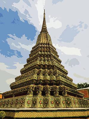 Digital Art - Colorful Stupa At Wat Pho by Helissa Grundemann