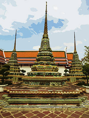 Digital Art - Colorful Stupas At Wat Pho by Helissa Grundemann