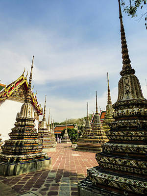 Photograph - Colorful Stupas At Wat Pho Temple by Helissa Grundemann