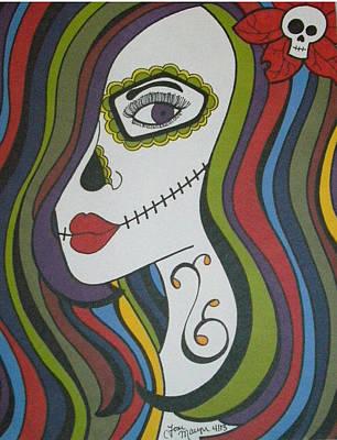 Sugar Skull Girl Drawing - Colorful Sugar Skull Girl by Toni Margerum