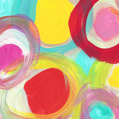 Painting - Colorful Sun Circles Square 1 by Amy Vangsgard