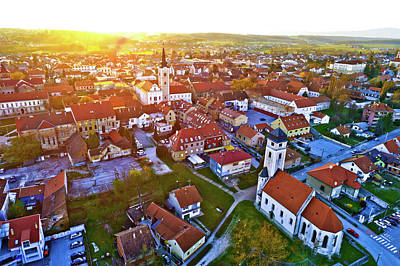Photograph - Colorful Sunset Above Medieval Town Of Krizevci Aerial View by Brch Photography