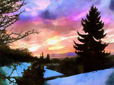Fir Trees Digital Art - Colorful Sunset by Anthony Caruso
