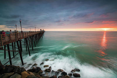 Piers Wall Art - Photograph - Colorful Sunset At The Oceanside Pier by Larry Marshall