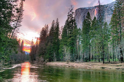 Photograph - Colorful Sunset Horsetail Falls Glow 2017 by Connie Cooper-Edwards