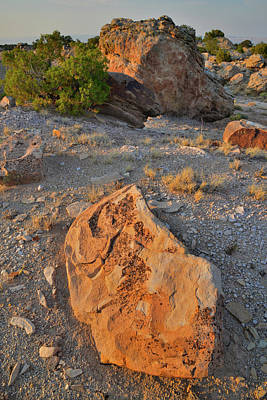 Photograph - Colorful Sunset Lit Boulders In Bentonite Site by Ray Mathis