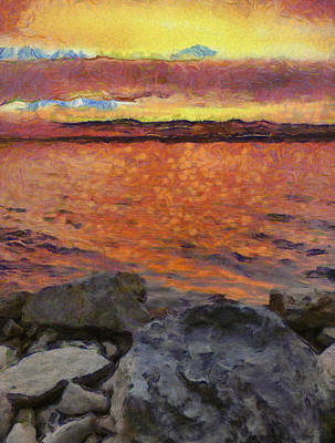 Painting - Colorful Sunset On The Lake by Dan Sproul