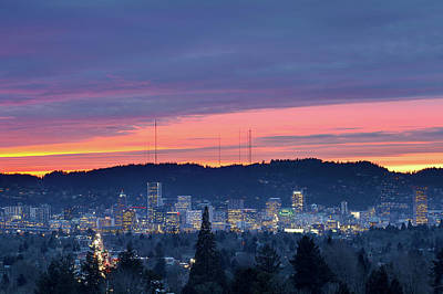 Photograph - Colorful Sunset Over City Of Portland by Jit Lim