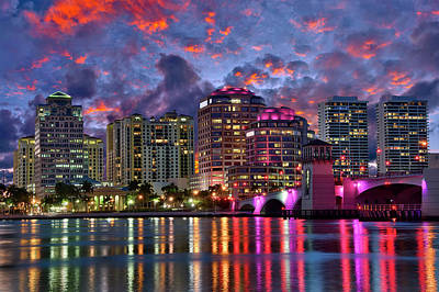 Photograph - Colorful Sunset Over Downtown West Palm Beach Florida by Justin Kelefas