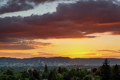 Photograph - Colorful Sunset Over Portland Oregon Downtown Skyline by Jit Lim