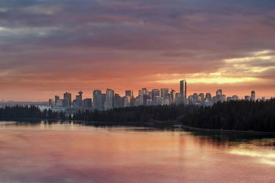 Photograph - Colorful Sunset Over Vancouver Bc Downtown Skyline by David Gn