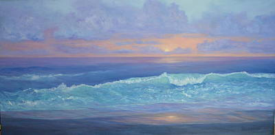 Cape Cod Colorful Sunset Seascape Beach Painting With Wave Art Print