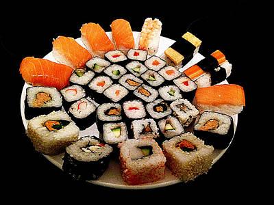 Colorful Sushi On Dish Print by Iguanna Espinosa