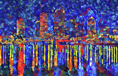 Lightning D Painting - Colorful Tampa Bay Skyline by Dan Sproul