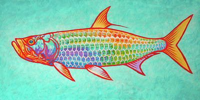 Wall Art - Painting - Colorful Tarpon by Guy Crittenden