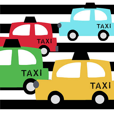 Taxi Digital Art -  Colorful Taxis- Art By Linda Woods by Linda Woods