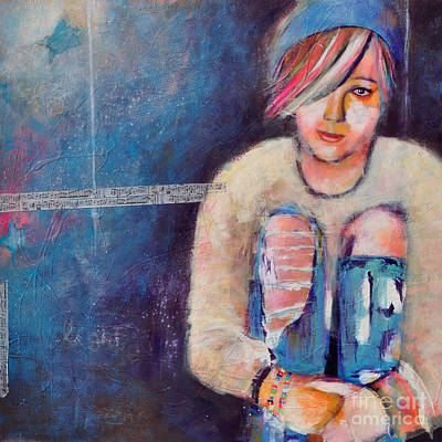 Girls Mixed Media - Colorful Teen I Hear The Music by Johane Amirault