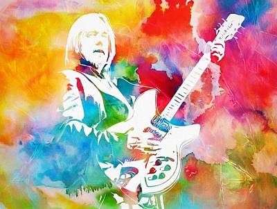 Rock And Roll Paintings - Colorful Tom Petty by Dan Sproul