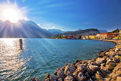 Photograph - Colorful Town Of Torbole And Lago Di Garda Sunset View by Brch Photography