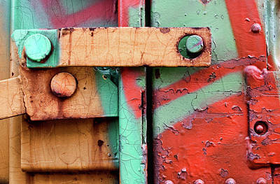 Urban Art Photograph - Colorful Train Details by Carol Leigh