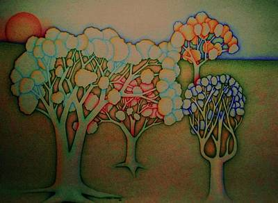 Colorful Trees Art Print by John Atkins
