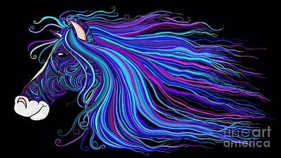 Digital Art - Colorful Tribal Horse by Nick Gustafson