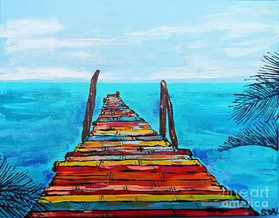 Painting - Colorful Tropical Pier by Scott D Van Osdol