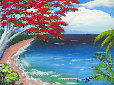 Painting - Colorful Tropical Seascape by Luis F Rodriguez