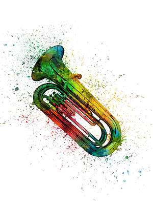 Band Digital Art - Colorful Tuba 02 by Aged Pixel