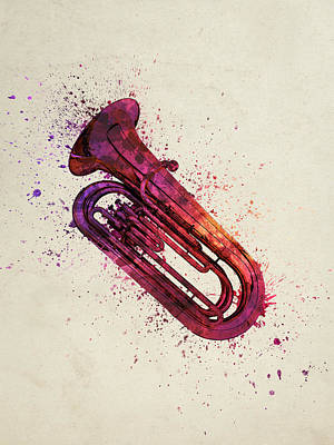 Band Digital Art - Colorful Tuba 03 by Aged Pixel
