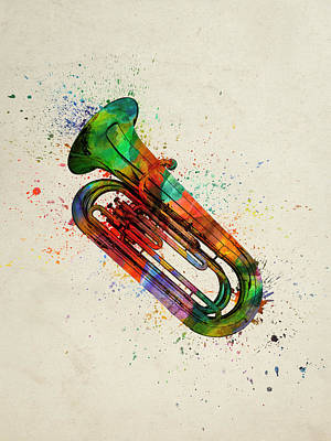Band Digital Art - Colorful Tuba 05 by Aged Pixel