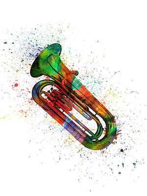 Band Digital Art - Colorful Tuba 06 by Aged Pixel