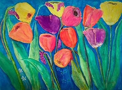 Painting - Colorful Tulips by Anne Sands