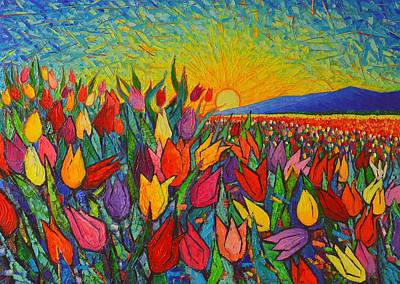 Colorful Tulips Field Sunrise - Abstract Impressionist Palette Knife Painting By Ana Maria Edulescu Original