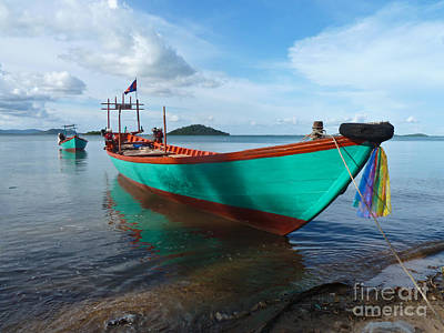 Colorful Turquoise Boat Near The Cambodia Vietnam Border Art Print